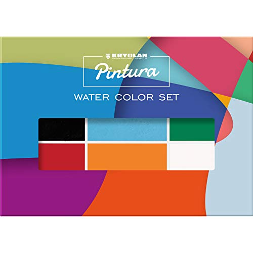 Kryolan Pintura Water Color Makeup Set 6 Colors Washable Vegan No Perfume No Parabens Gluten Free Ideal for Face Body Painting Children Party and Halloween 0