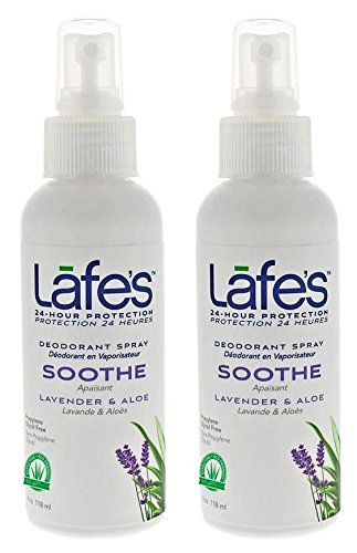 Lafes Soothe Lavender Aloe Aluminum Free Natural Deodorant Spray for Women Men Vegan Cruelty Free Gluten Free Paraben Free Baking Soda Free with 24 Hour Protection 2 Pack 4oz 0