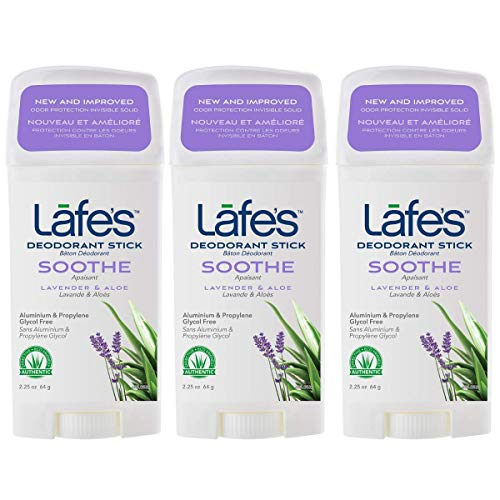 Lafes Soothe Lavender Aloe Aluminum Free Natural Deodorant Stick for Women Men Vegan Cruelty Free Gluten Free Paraben Free Baking Soda Free with 24 Hour Protection 3 Pack 225 oz each 0