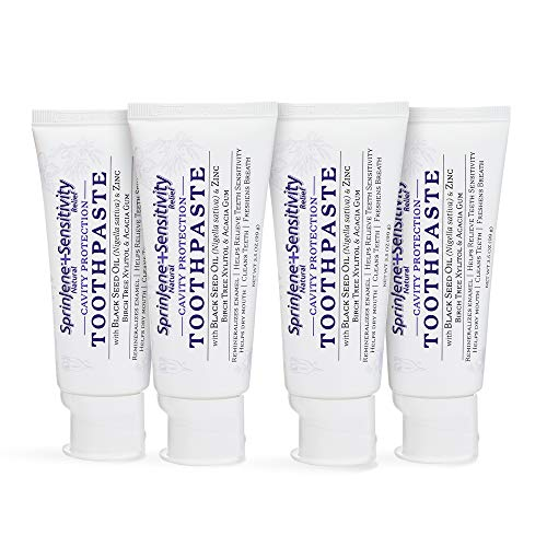 Natural 4 Pack Toothpaste for Sensitive Teeth and Gums SLS Free Toothpaste with Fluoride for Cavity Protection Gluten Free Sugar Free No Artificial Preservatives 35 oz SprinJene 0