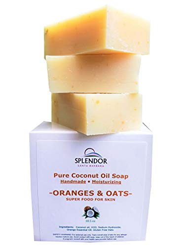 Oranges Oats Coconut Face and Body Bar Soap 100 Natural Cold Processed with Sweet Orange Essential Oil Gluten Free Oats Handmade in the USA Vegan Moisturizing 0