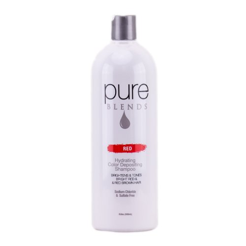 Pure Blends Red Hydrating Color Depositing Shampoo Infused with Keratin Collagen to Repair Dry Damaged Hair Eliminate Color Fade Sulfate Sodium Chloride Paraben Gluten Free 338 Oz 0