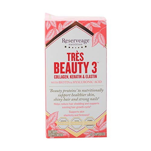 Reserveage Tres Beauty 3 Beauty Supplement for Hair Skin and Nails with Collagen Keratin and Biotin Gluten Free 90 Capsules 30 Servings 0