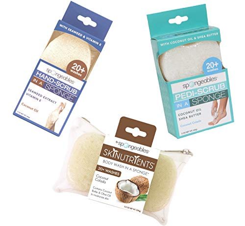 Spongeables Coconut Colada Spa Set The Soap is in the Sponge Includes Hand Body and Pedi Scrub Sponges Paraben Free Gluten Free and Vegan Friendly Lasts for 20 Washes Variety Pack of 3 0