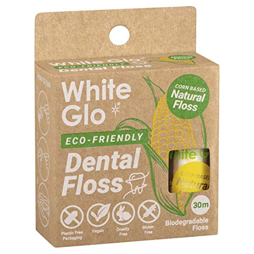 White Glo Eco Friendly Corn Based Natural Dental Floss 100 Biodegradable Floss Box Naturally Waxed to Remove Plaque for a Healthy Smile Mint Flavored Vegan Gluten and Cruelty Free 33 yds 30m 0